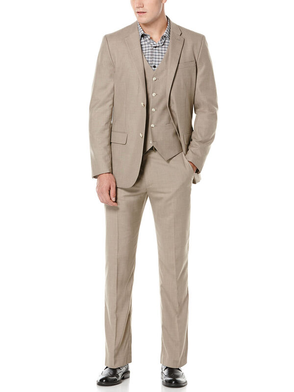 Natural Linen Two Tone Twill Suit, , hi-res