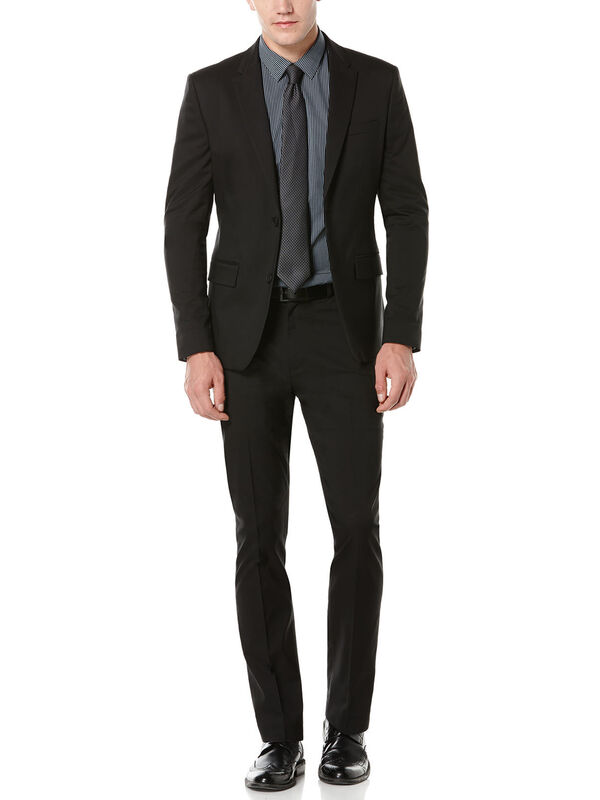 Very Slim Solid Black Twill Suit, , hi-res