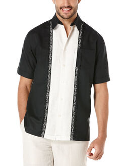 Linen Short Sleeve Contrast Tuck Panel With Ornate Embroidery, Jet Black, hi-res