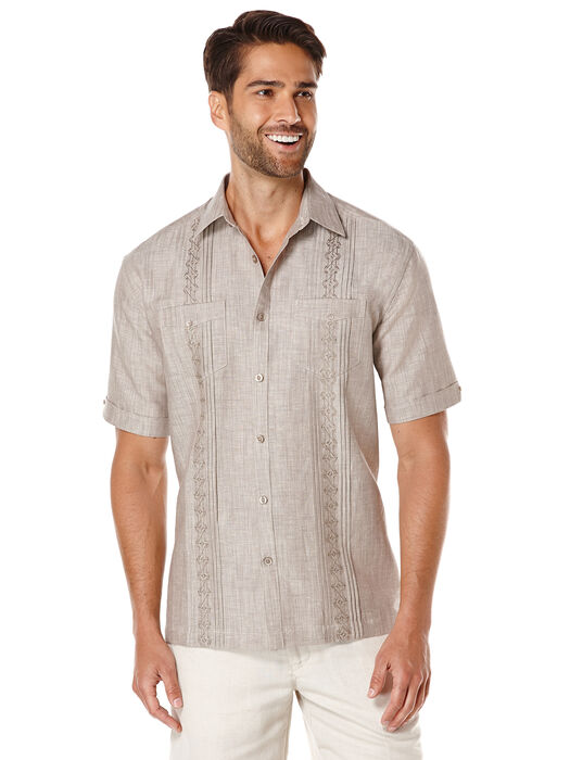Linen Short Sleeve Front Tuck With Tonal Embroidery, Falcon, hi-res