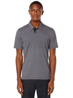 Short Sleeve Geometric Printed Polo, Dark Sapphire, hi-res