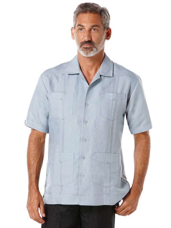 Short Sleeve Rayon Blend Guayabera, Tradewinds, hi-res