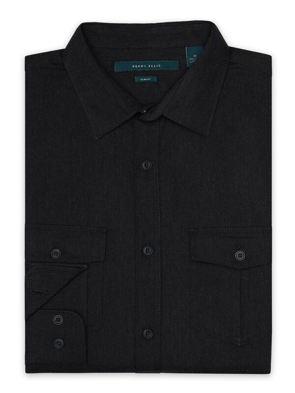 Slim Fit Twill Heathered Shirt, Black Heather, hi-res