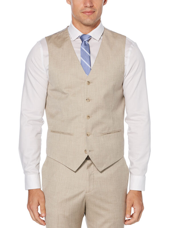 Regular Fit Herringbone Suit Vest, Natural Linen, hi-res