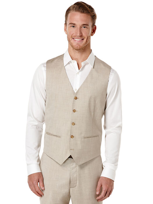 Big and Tall Textured Suit Vest, Natural Linen, hi-res