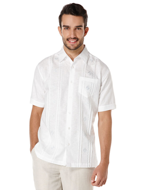 Linen Short Sleeve Front Tuck and Ombre Embroidered Shirt, Bright White, hi-res