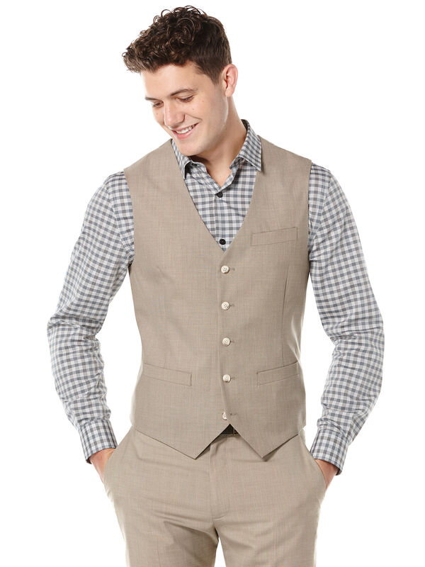 Two Toned Twill Suit Vest, Natural Linen, hi-res