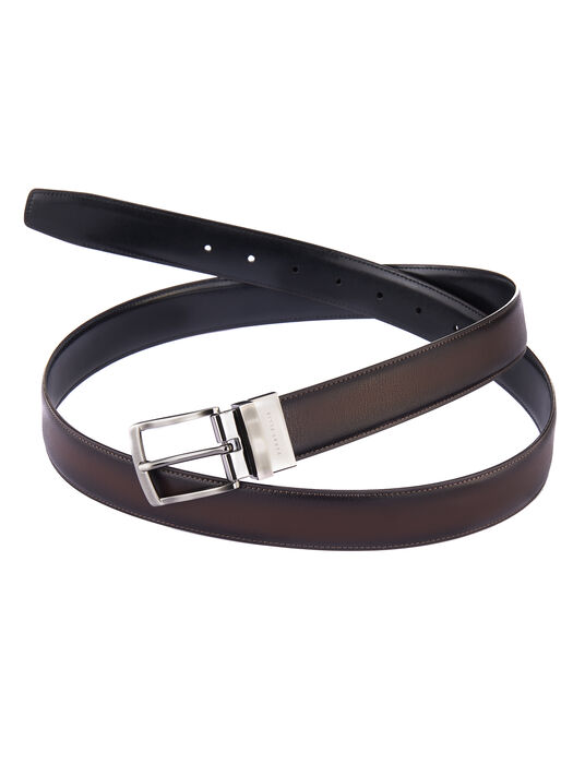 Burnished Edge Leather Belt, Brown, hi-res