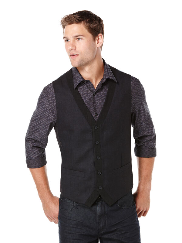 Textured 5 Button Party Vest, Navy, hi-res