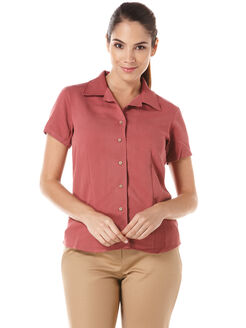 Womens Bedford Cord Camp Shirt, Brick, hi-res