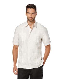 Short Sleeve Linen Front Insert Guayabera, Natural Linen, hi-res