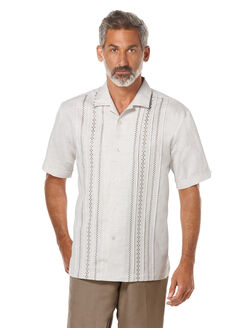 Linen Short Sleeve Embroidered Camp Collar Shirt, Simply Taupe, hi-res
