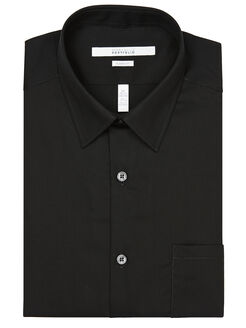 Classic Fit Twill Portfolio Dress Shirt, Black, hi-res
