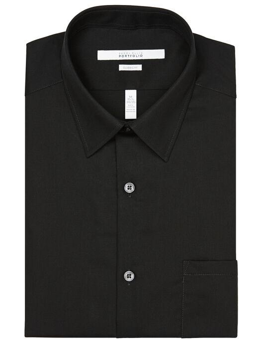 Classic Fit Twill Portfolio Dress Shirt, Black, hi-res