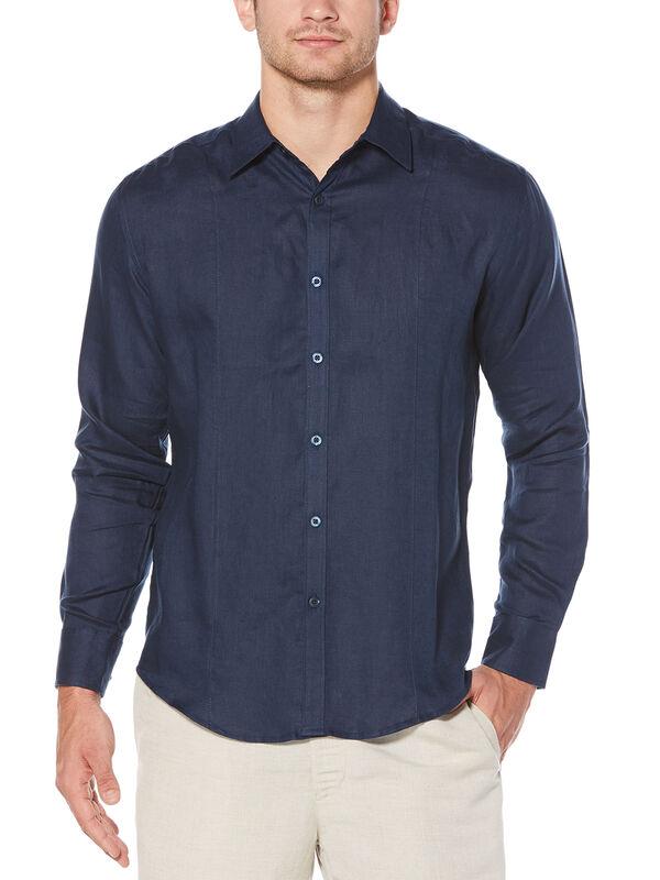 100% Linen Long Sleeve Front Tuck Shirt, Dress Blues, hi-res