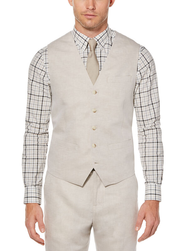 Linen Cotton Twill Suit Vest, Natural Linen, hi-res