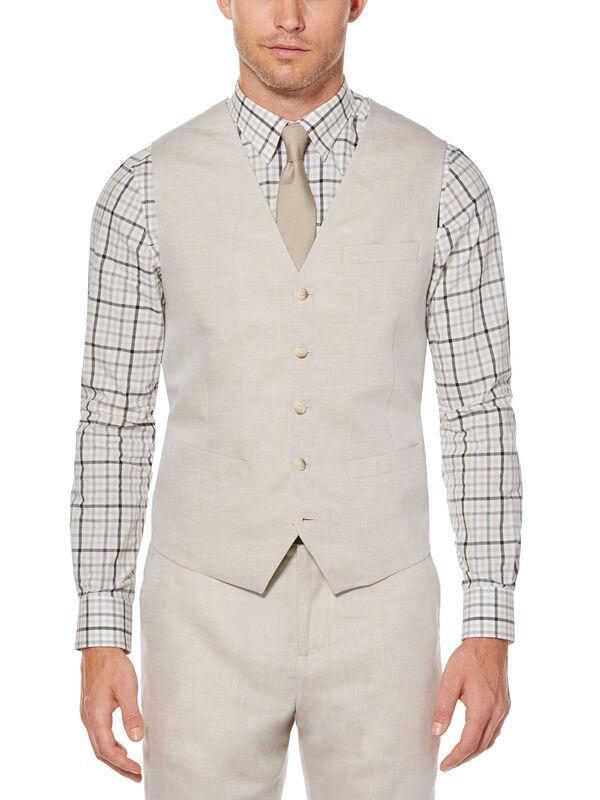 Linen Cotton Twill Suit Vest, Natural Linen, hi-res