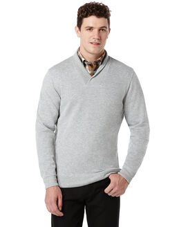 Heathered V-Neck Jacket, Alloy Heather, hi-res