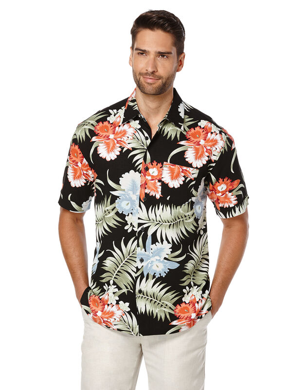Short Sleeve Tropical Print, Jet Black, hi-res