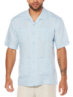 Short Sleeve Rayon Blend Guayabera, Cashmere Blue, hi-res