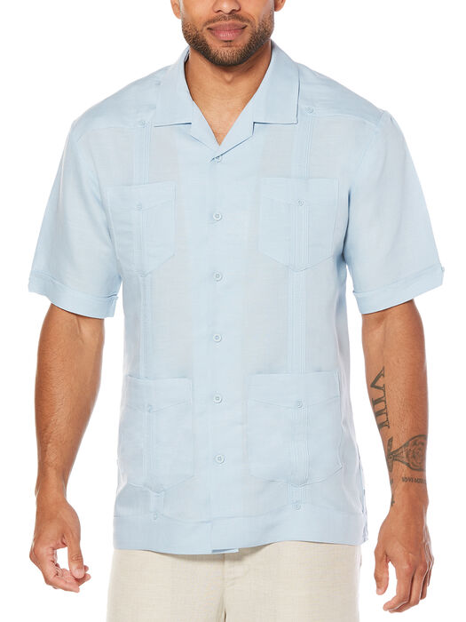 Big & Tall Short Sleeve Rayon Blend Guayabera, , hi-res