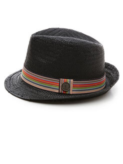 Straw Fedora, Jet Black, hi-res