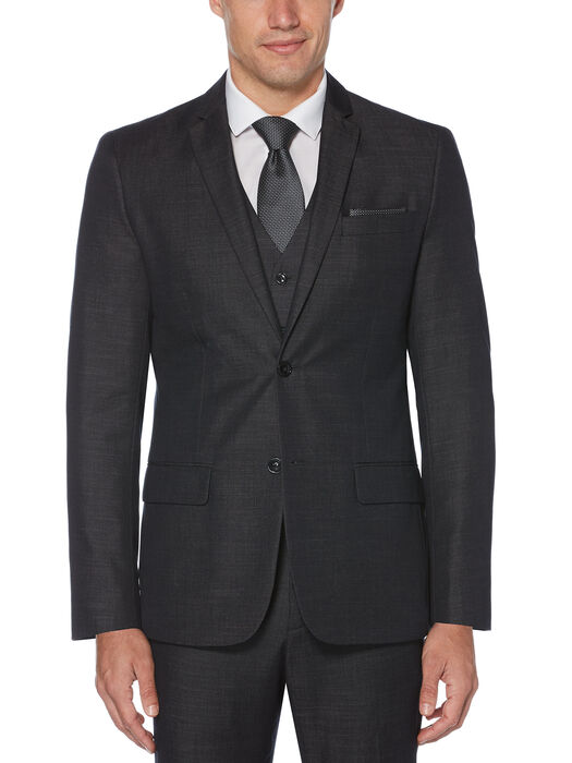 Slim Fit Chambray Suit Jacket, Black, hi-res