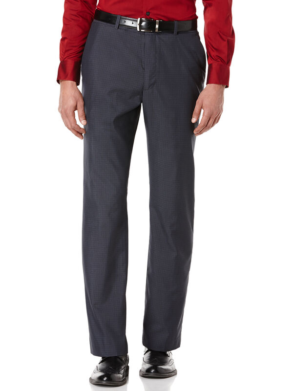 Tonal Mini Plaid Suit Pant, Navy, hi-res