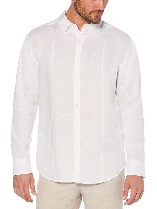 100% Linen Long Sleeve Front Tuck Shirt, Bright White, hi-res