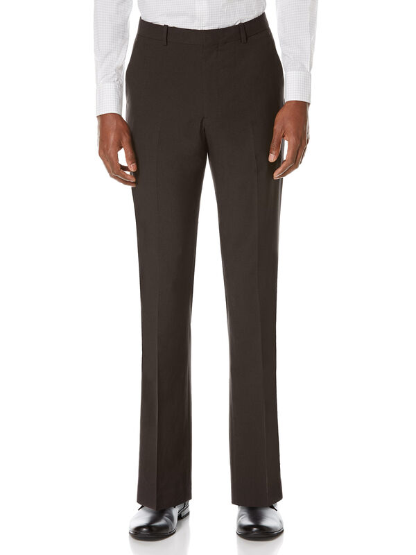 Slim Fit Solid Textured Suit Pant, Black, hi-res