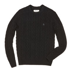 ALL OVER CABLE RAGLAN SWEATER, True Black, hi-res