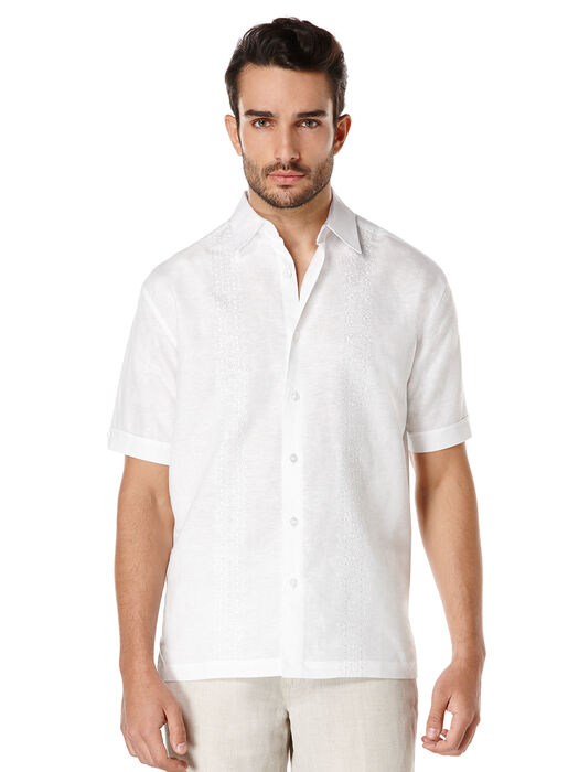 Linen Short Sleeve Tonal Embroidered Shirt, Bright White, hi-res