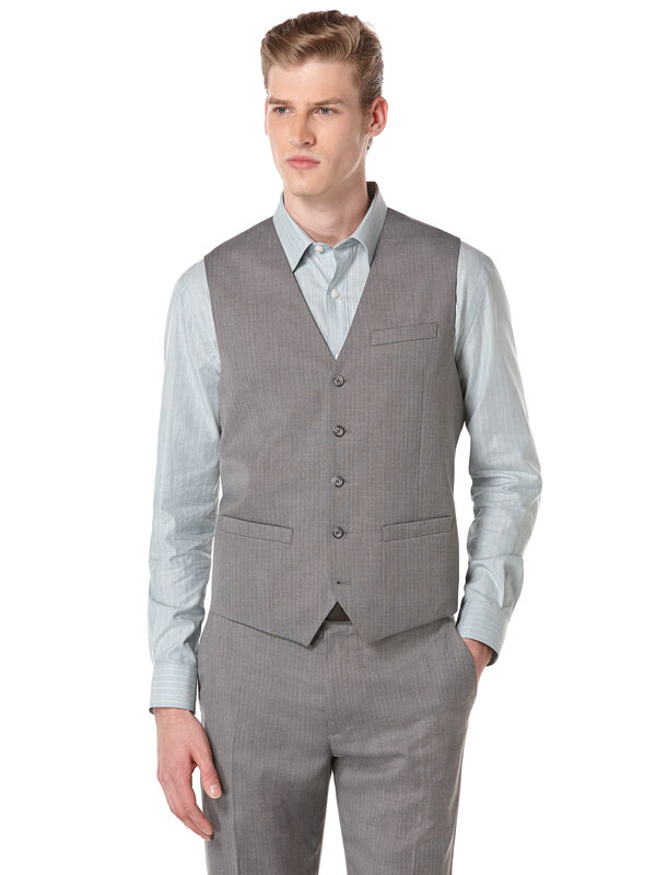 Herringbone Stripe Suit Vest, Alloy, hi-res