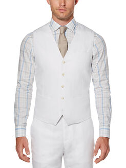 Linen Cotton Twill Suit Vest, Bright White, hi-res