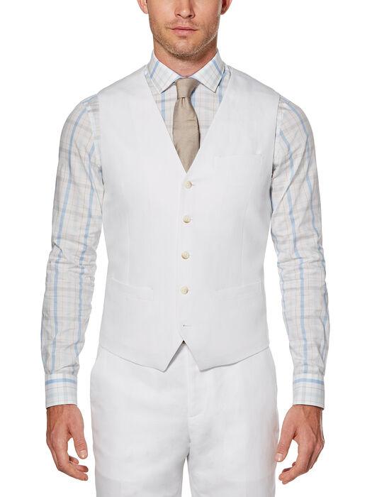 Linen Cotton Twill Suit Vest, Bright White, hi-res