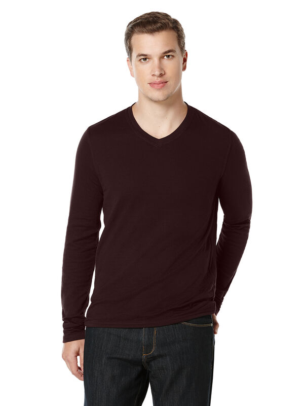 Reversible Stripe V-Neck Shirt, Port, hi-res