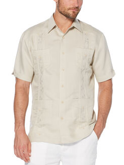 Short Sleeve Embroidered Ramie/Rayon Guayabera, Natural Linen, hi-res