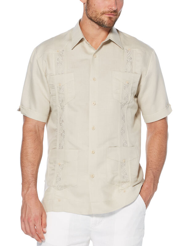 Short Sleeve Embroidered Ramie/Rayon Guayabera, , hi-res