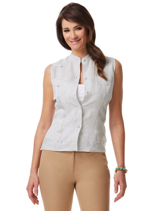 100% Linen Ladies Sleeveless Blouse, Natural Linen, hi-res