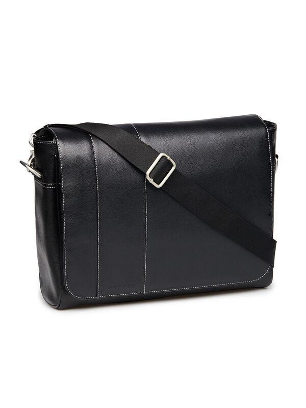 Leather Messenger Bag, Black, hi-res