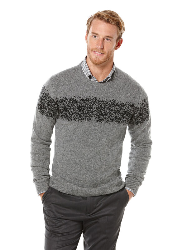 Placed Pattern Crew Neck Sweater, Smoke Heather, hi-res