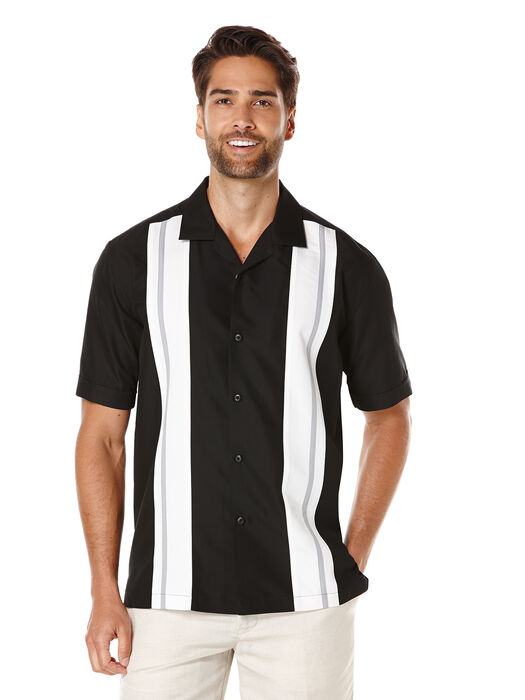 Short Sleeve Tri-Color Panel, Jet Black, hi-res