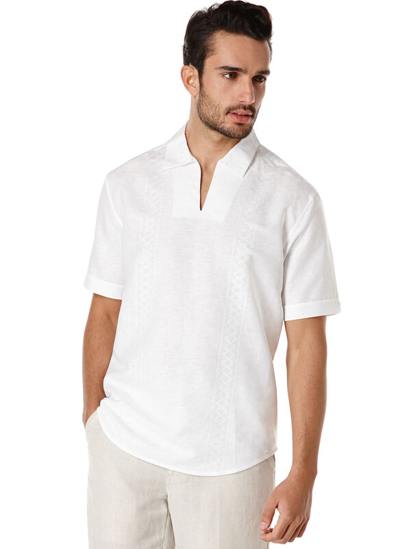 Linen Short Sleeve Embroidered Johnny Collar Popover, Bright White, hi-res