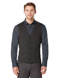 Slim Fit Micro Pattern Suit Vest, Charcoal, hi-res