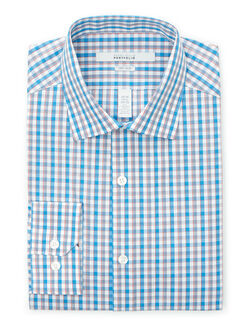 Very Slim Gingham Check Dress Shirt, Mediterranean Blue, hi-res