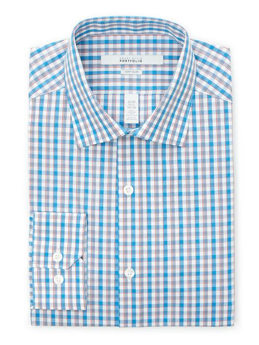 Very Slim Gingham Check Dress Shirt, Mediterranean Blue, hi-res