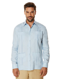 100% Linen Long Sleeve Guayabera, Skyway, hi-res