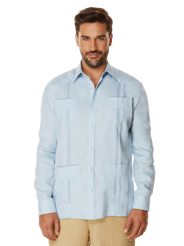 100% Linen Long Sleeve Guayabera, Skyway, hi-res