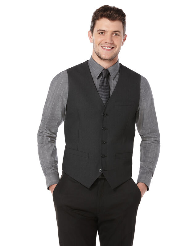 Slim Fit Textured Party Suit Vest, Black, hi-res