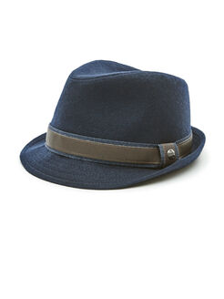Wool Fedora, Navy, hi-res